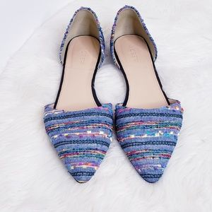 J. CREW - D'Orsay Flats Blue Embroidered sz. 9.5
